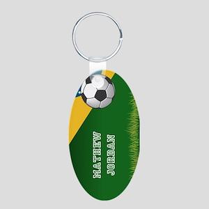 Personalized Soccer Brazil Aluminum Oval Keychain