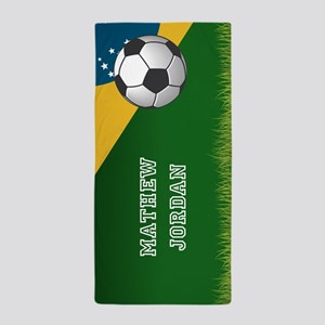 Personalized Soccer Brazil Sports Them Beach Towel