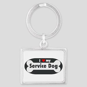 I Love My Service Dog Keychains