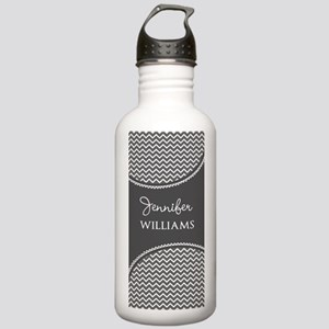 Gray and White Chevron Stainless Water Bottle 1.0L