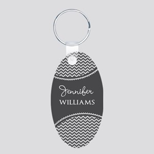 Gray and White Chevron Pers Aluminum Oval Keychain