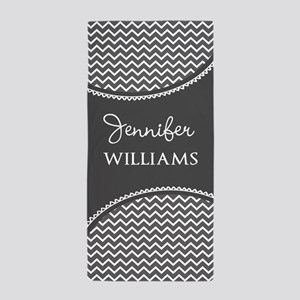 Gray and White Chevron Persosonalized Beach Towel