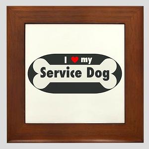 I Love My Service Dog Framed Tile