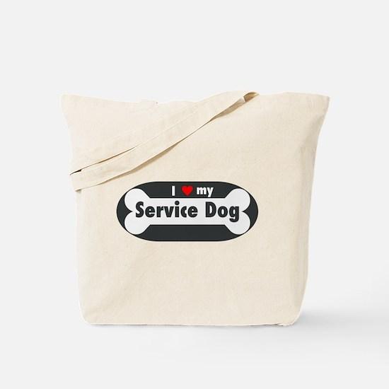 I Love My Service Dog Tote Bag