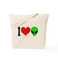 I Love Aliens Tote Bag