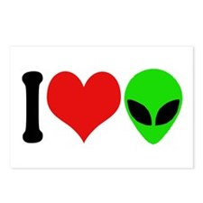 I Love Aliens Postcards (Package of 8)