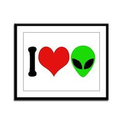 I Love Aliens Framed Panel Print