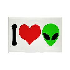 I Love Aliens Rectangle Magnet
