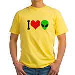 I Love Aliens Yellow T-Shirt