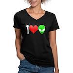 I Love Aliens Women's V-Neck Dark T-Shirt