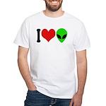 I Love Aliens White T-Shirt