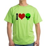 I Love Aliens Green T-Shirt