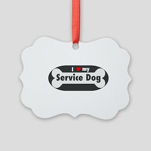I Love My Service Dog Picture Ornament