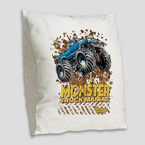 Monster Truck Maniac Burlap Throw Pillow