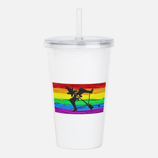 SAGITTARIUS GAY RAINBO Acrylic Double-wall Tumbler