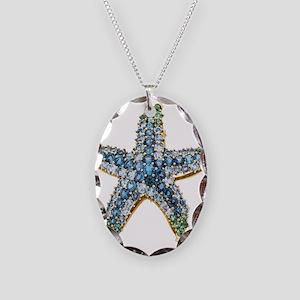 Rhinestone Starfish Costume Je Necklace Oval Charm