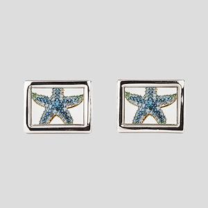 Rhinestone Starfish Costume Rectangular Cufflinks
