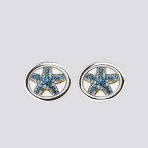Rhinestone Starfish Costume Jewelry Oval Cufflinks