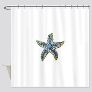 Rhinestone Starfish Costume Jewelry Shower Curtain