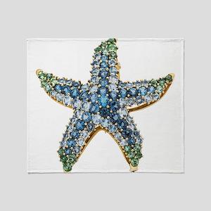 Rhinestone Starfish Costume Jewelry Throw Blanket
