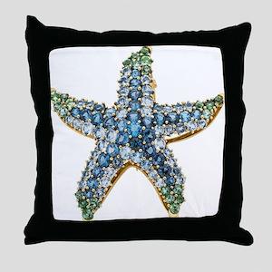 Rhinestone Starfish Costume Jewelry S Throw Pillow
