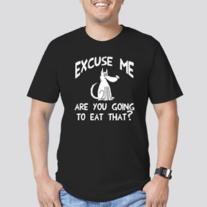 Excuse me eat that? Men's Fitted T-Shirt (dark)