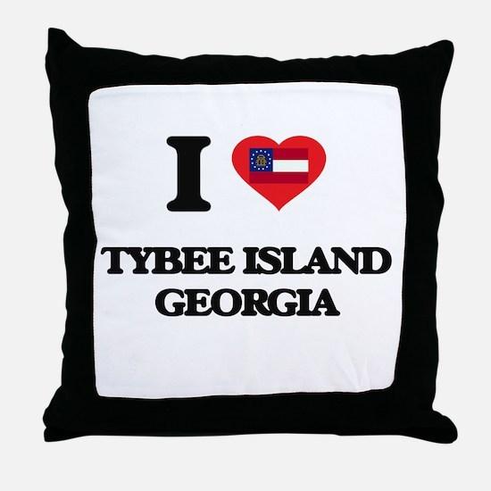 I love Tybee Island Georgia Throw Pillow