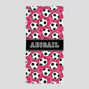 Soccer Ball Pattern And Pink Beach Towel