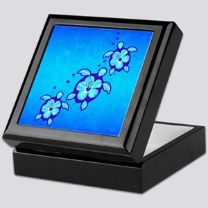 3 Blue Honu Turtles Keepsake Box