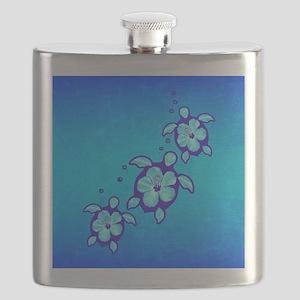 3 Blue Honu Turtles Flask