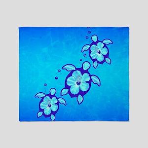 3 Blue Honu Turtles Throw Blanket
