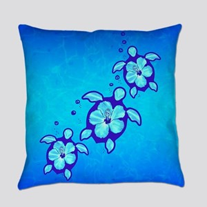 3 Blue Honu Turtles Everyday Pillow