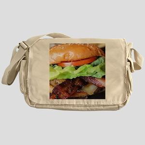 novelty bacon hamburger Messenger Bag
