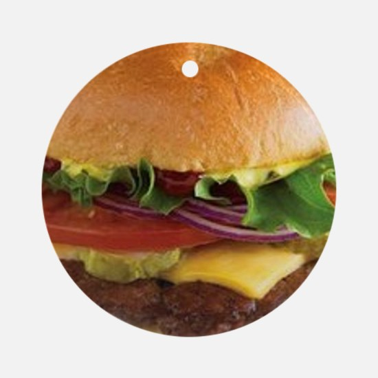 funny cheeseburger Round Ornament