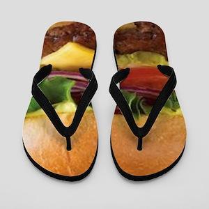 funny cheeseburger Flip Flops