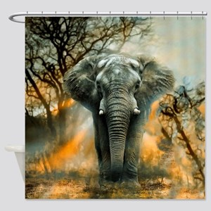 Elephant Sunrise Shower Curtain