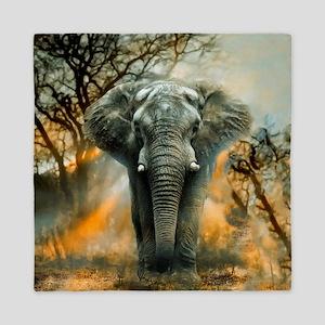 Elephant Sunrise Queen Duvet