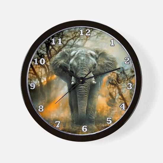 Elephant Sunrise Wall Clock