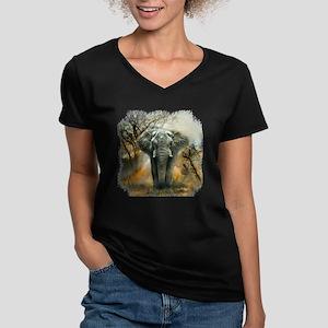 Elephant Sunrise Women's V-Neck Dark T-Shirt