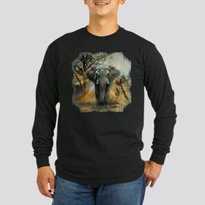 Elephant Sunrise Dark Long Sleeve T-Shirt