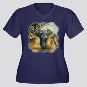 Elephant Sun Women's V-Neck Dark Plus Size T-S