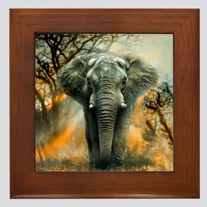 Elephant Sunrise Framed Tile
