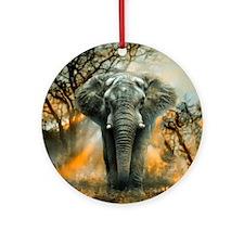 Elephant Sunrise Ornament (Round)