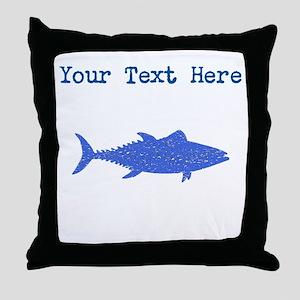 Distressed Blue Tuna Fish (Custom) Throw Pillow