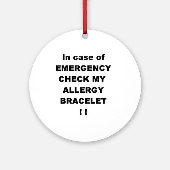 Allergy Warning Ornament (Round)