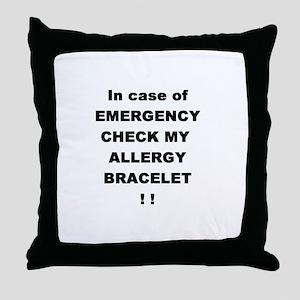 Allergy Warning Throw Pillow