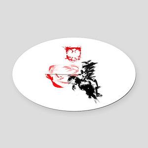 Polish Hussar Oval Car Magnet