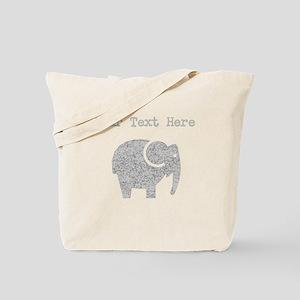 Distressed Grey Cartoon Elephant (Custom) Tote Bag