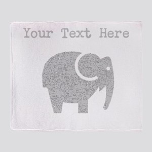 Distressed Grey Cartoon Elephant (Custom) Throw Bl