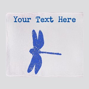 Distressed Blue Dragonfly (Custom) Throw Blanket